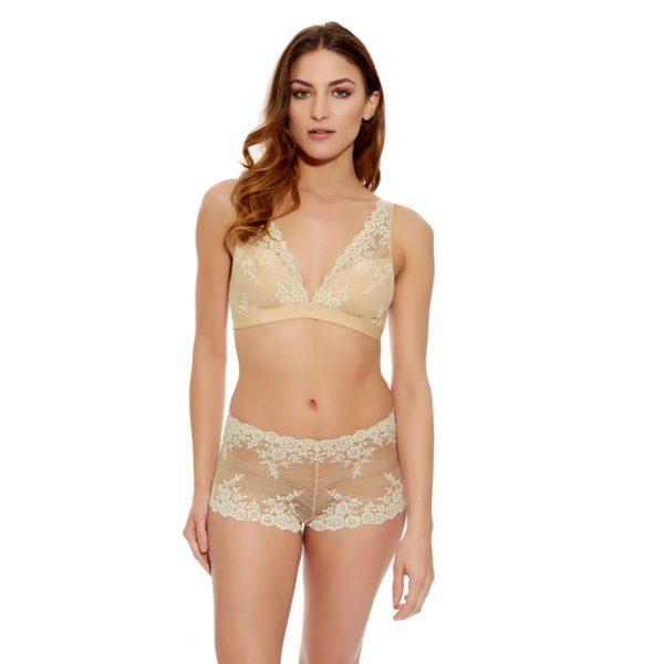 Embrace lace soft bra and boy short - ivorynude