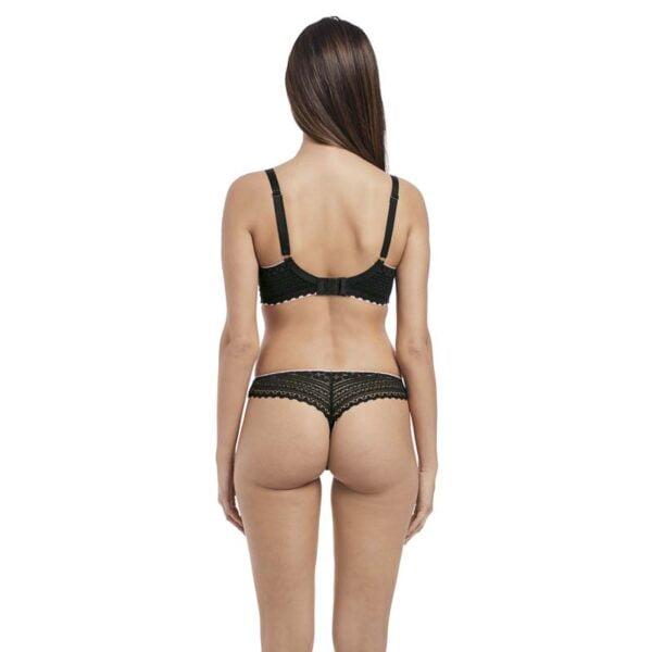 daisy lace black brazilian thong rear
