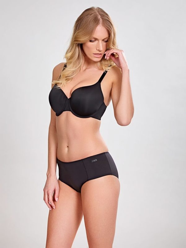 Porcelain Elan - Black - Moulded T shirt Bra and Short