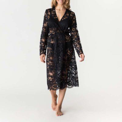 Soie Belle Lace Kimono Coat Black by Prima Donna
