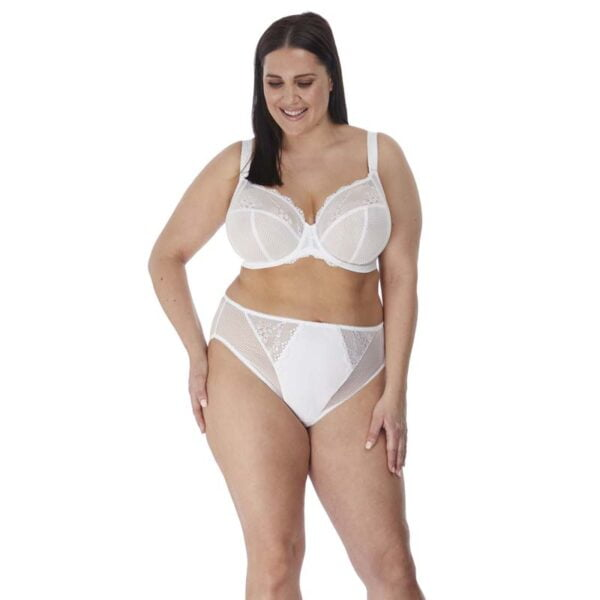 Charley White Uw Plunge Bra With Stretch Lace And High Leg Brief