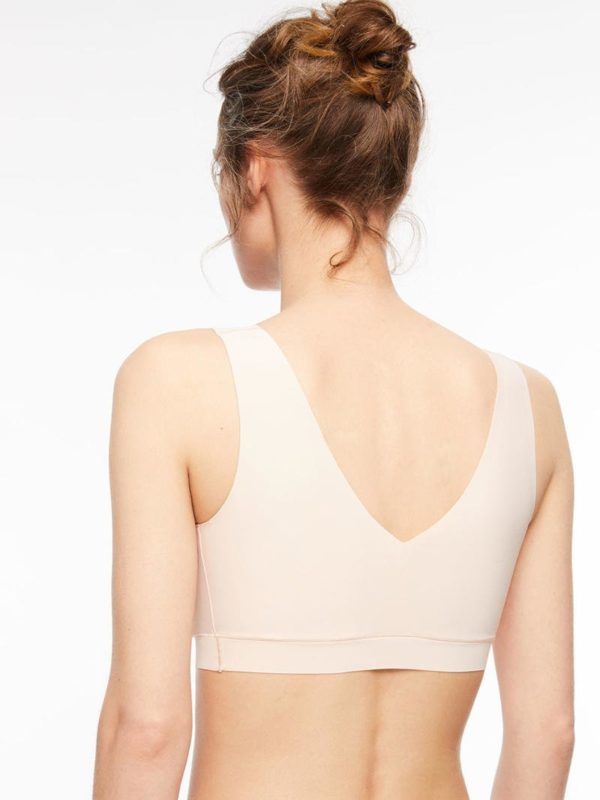 Soft Stretch - V Neck Padded Top - Golden beige - rear