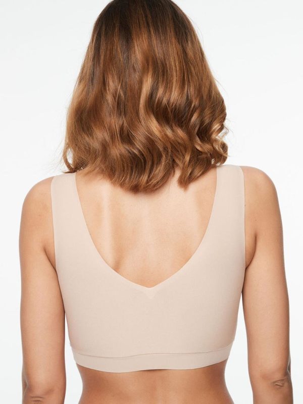 Soft Stretch - V Neck Padded Top - Nude - rear