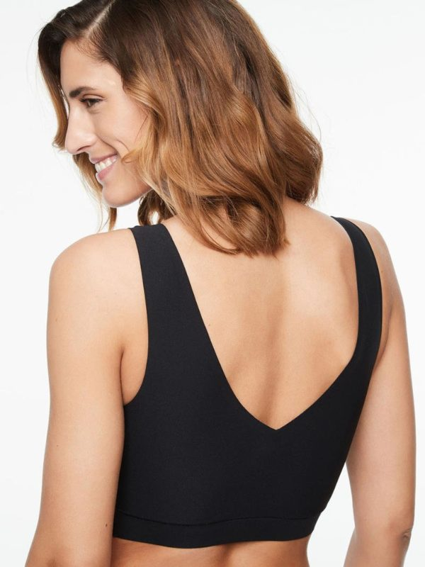 Soft Stretch - V Neck Padded Top - black - rear