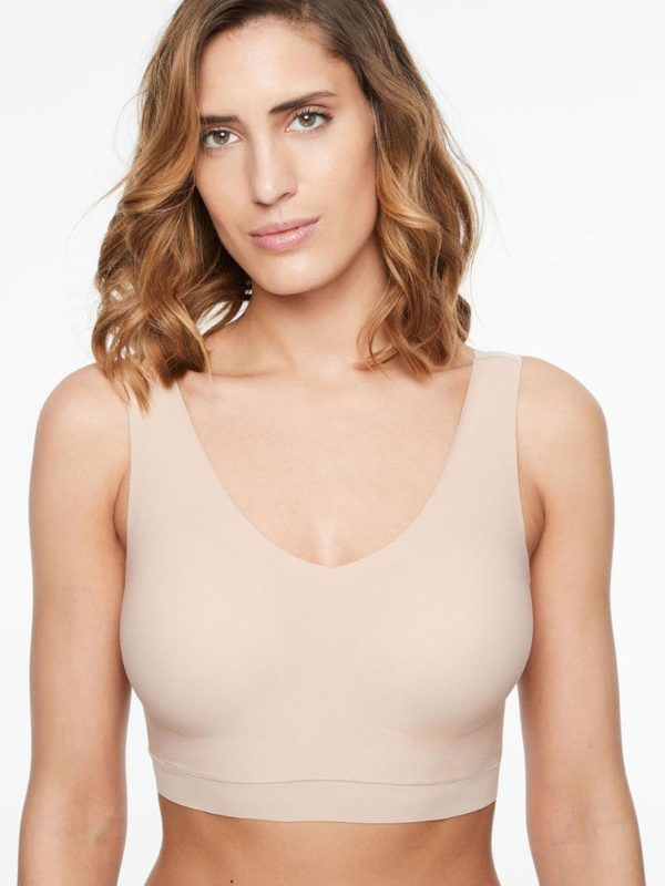 Soft Stretch - V Neck Padded Top - nude