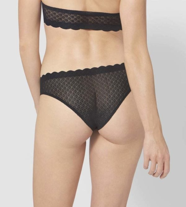 Black Zero Feel Lace Brazilian Panty by Sloggi rear