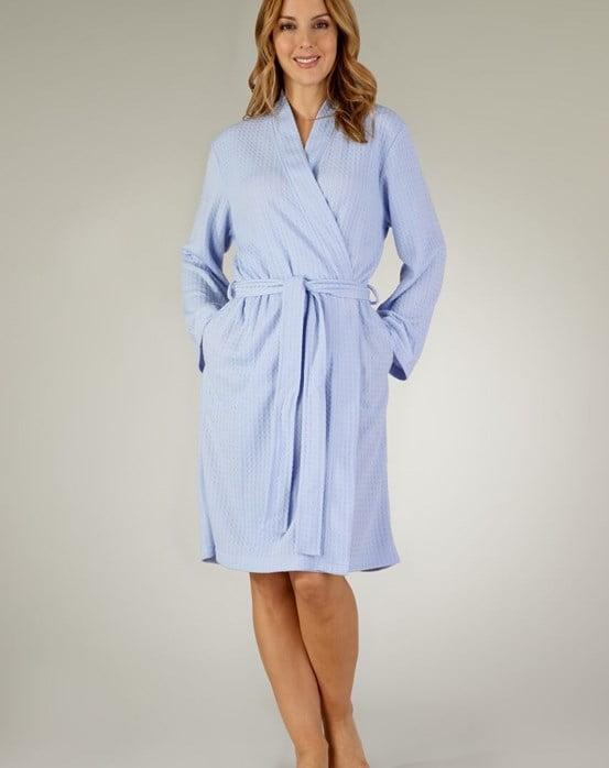 Houndstooth Knit Long Sleeve Kimono Wrap Light Blue