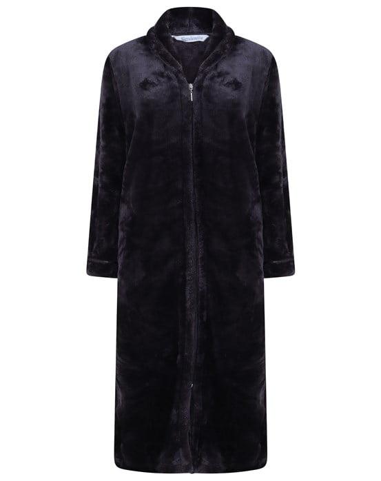 Luxury Flannel Fleece 46 Long Sleeve Zip Through Housecoat