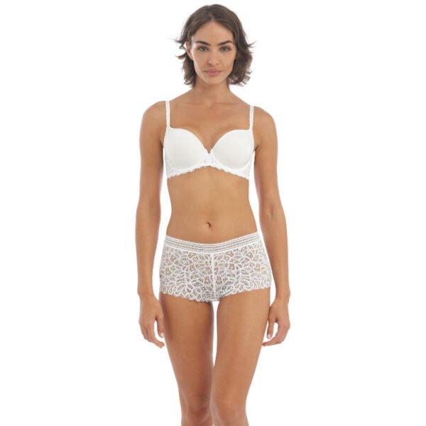 rafine white contour bra & short front