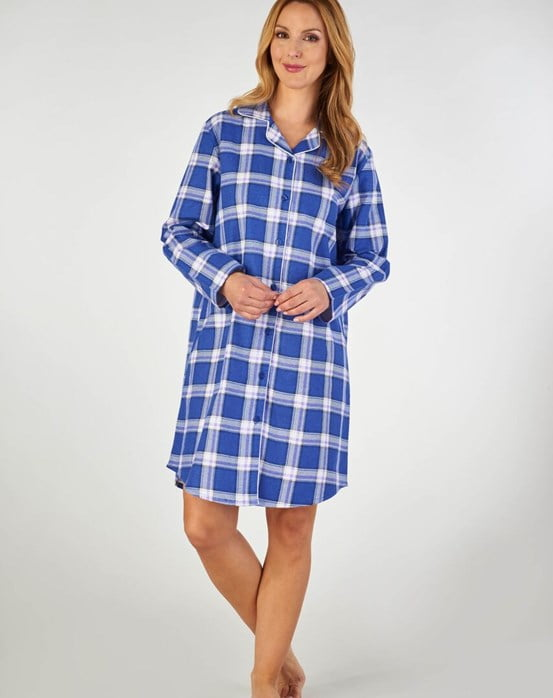 Slenderella Woven Check And Coloured Interlock 38 Collared Nightshirt